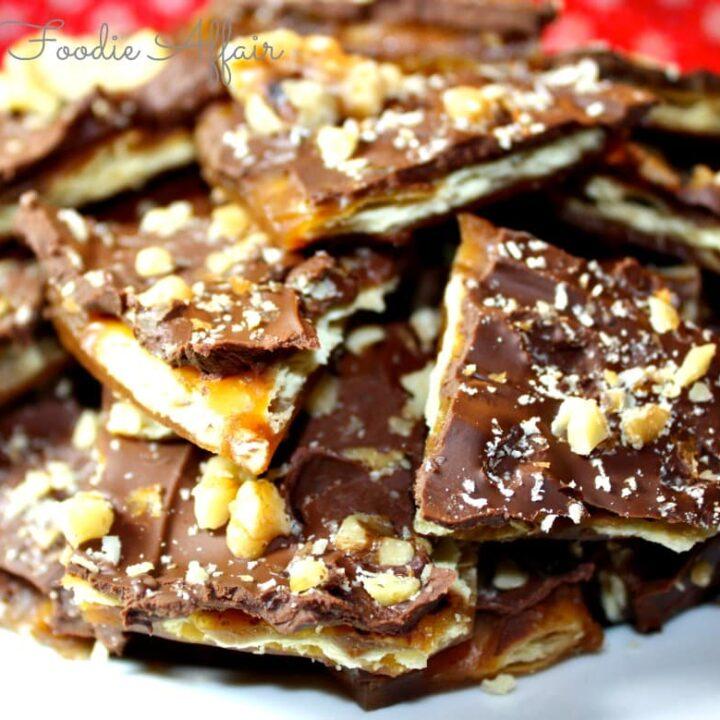 Plate full of saltine cracker bark aka butter brittle cookies