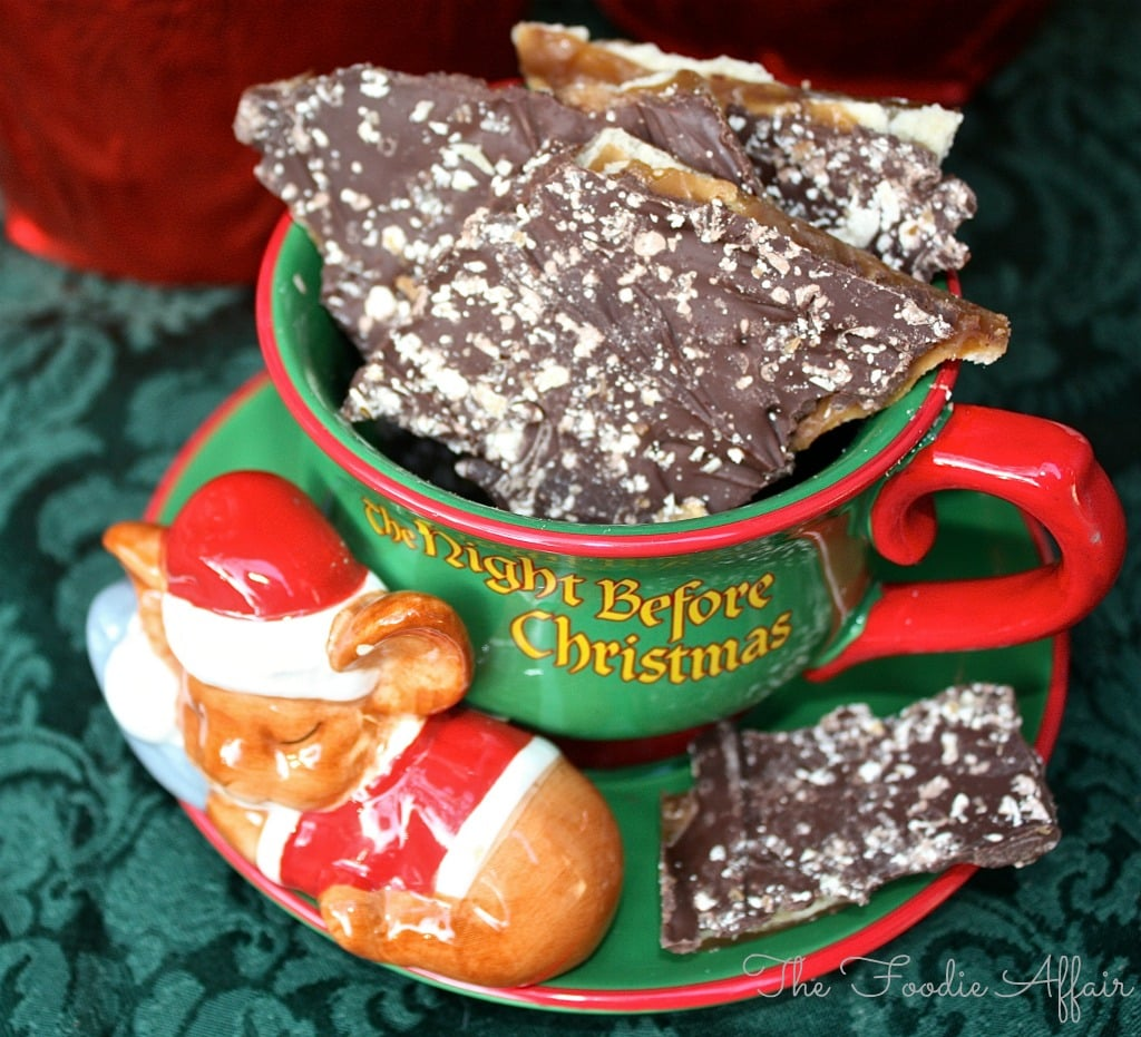 Butter Brickle cookies in a Christmas cup