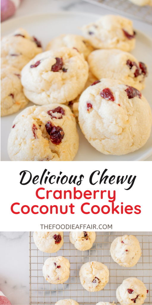 Soft and chewy cranberry coconut cookies! This cookie is similar to a sugar cookie, but the extra goodies take it up a level. Tang from the cranberries bring out the flavor of the coconut. #baking #cookies #cookieexchange