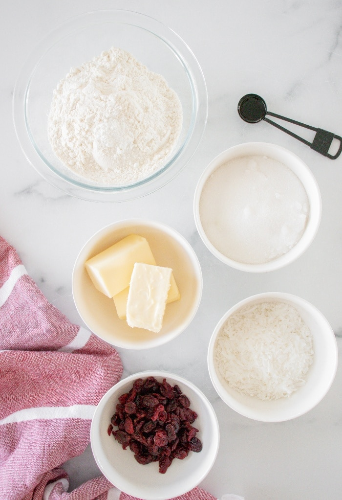 Ingredients for cranberry cookies.