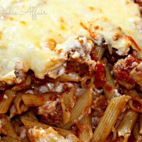 Close up shot of pasta in a pot recipe