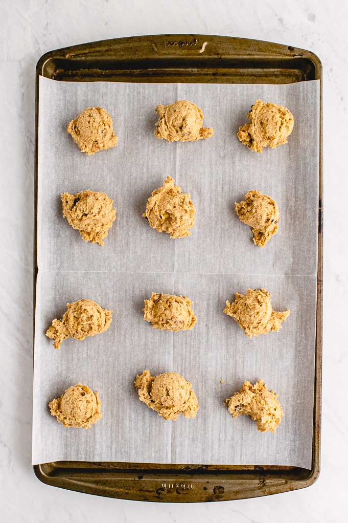 Cookie dough on baking sheet ready to bake.