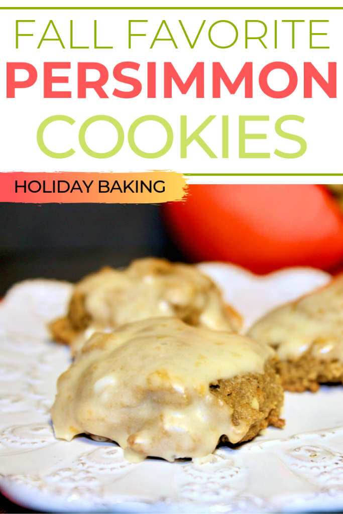 Fall favorite persimmon cookies made with fresh pulp and and spices like cinnamon, cloves, and nutmeg. The trio fills your house with the aroma of the holidays! #cookies #persimmon #holidaybaking #baking #Christmas #thefoodieaffair
