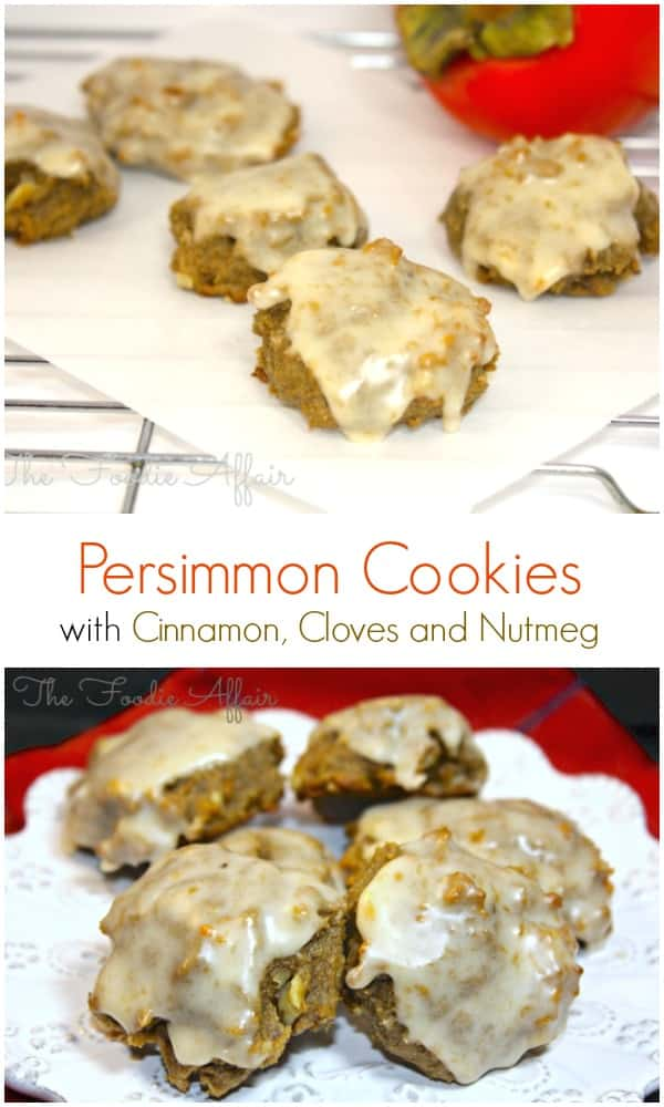 Persimmon Cookies made with a trio of Fall spices: cinnamon, cloves and nutmeg will fill your holiday cookie tray with a delicious fruit that is only available in the Fall. The Foodie Affair