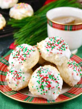 Italian ricotta cookies on a holiday plate