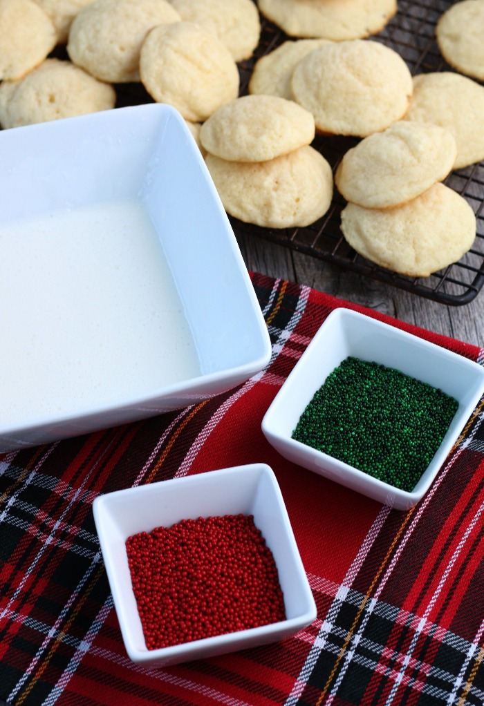This image shows the finished ricotta cookies recipe, the cookies are ready to be iced and decorated.