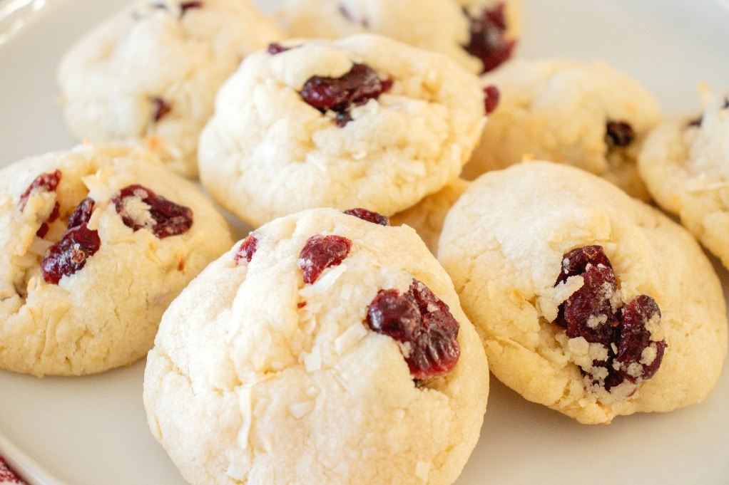 Cose up view of cranberry coconut cookies.