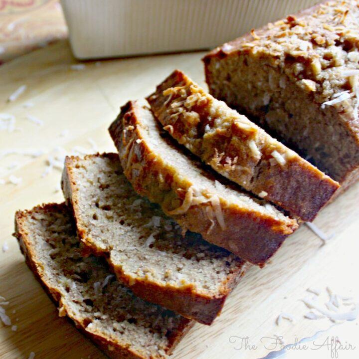 Coconut Banana Bread in a baking loaf pan