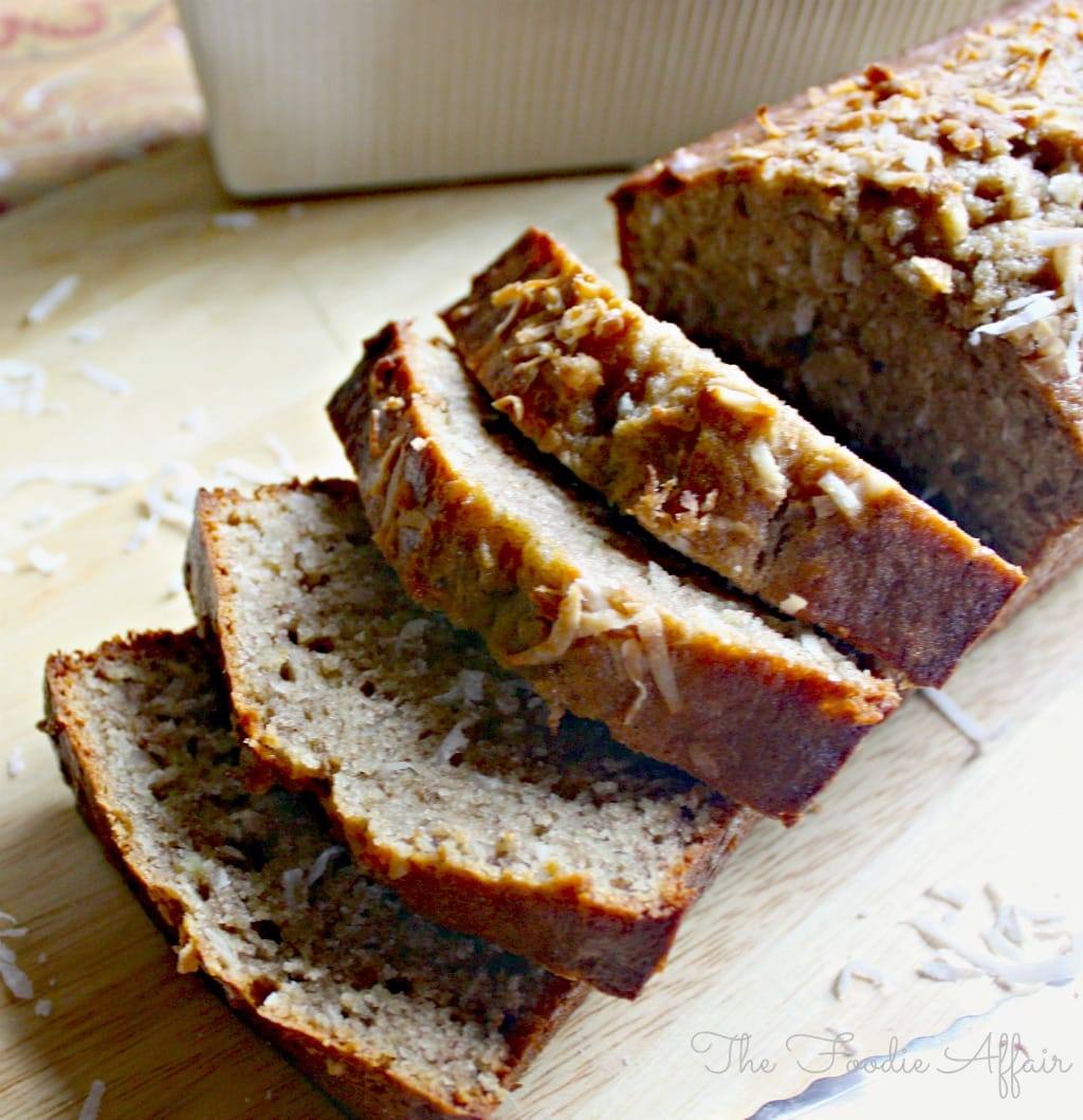 Coconut Banana Bread in a baking loaf pan