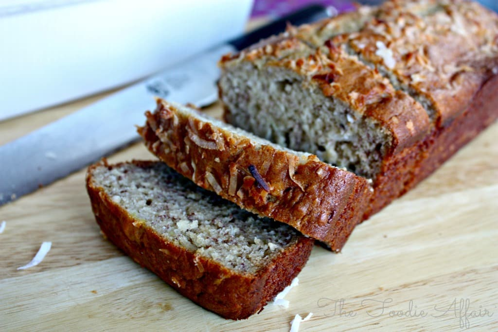 Coconut flakes are added to this banana bread adding a little burst of ...