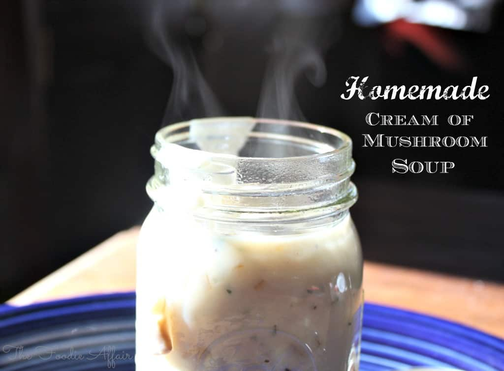 Cream of Mushroom Soup with steam coming out of the glass jar