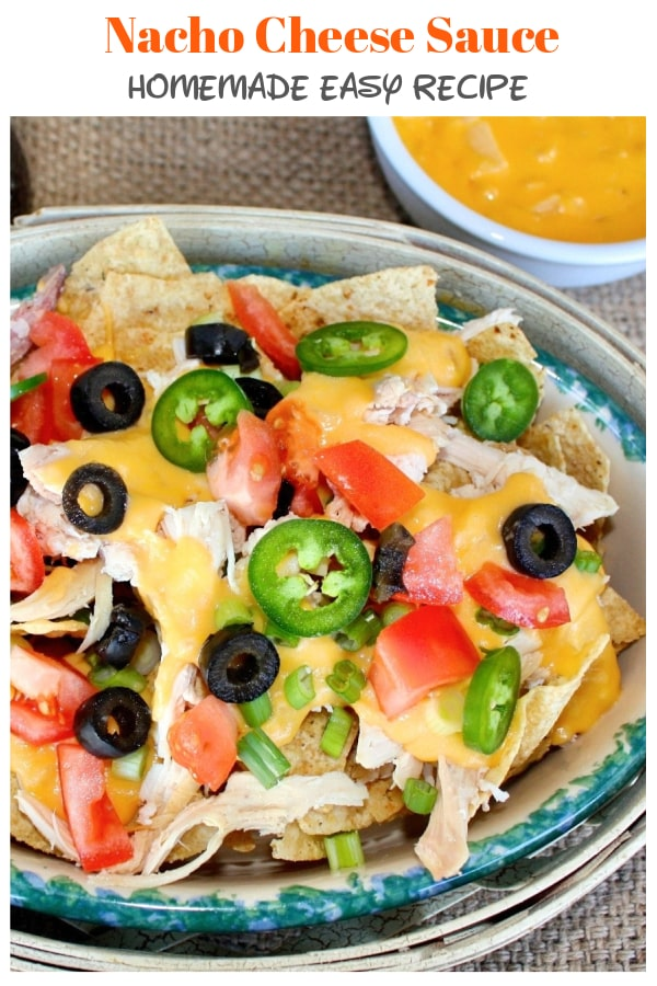 Nacho Cheese Sauce is delicious andsuper easy to make! Munch on some creamy homemade cheese sauce with tortilla chips or load up all your favorite toppings and make a nacho platter! #nacho #cheese #gameday #appetizer #snack | www.thefoodieaffair.com