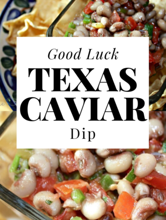 Texas Caviar, Good Luck Black Eyed Pea Dip! Eating black-eyed peas on New Year's Day to bring prosperity in the new year is a Southern United States tradition that my husband brought to our family! #dip #tradition #newyear #appitizer #beans #caviar #texas #thefoodieaffair