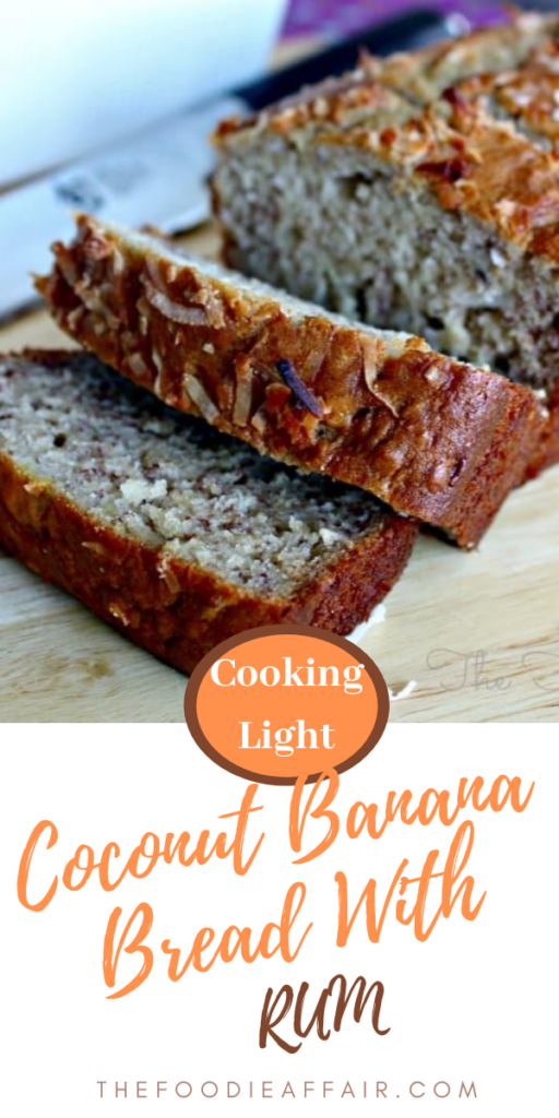A tropical twist to banana bread. This banana bread recipe is made with coconut flakes and a splash of rum!