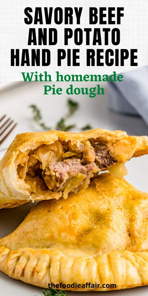 Homemade meat hand pies are hearty and delicious mix of beef and potatoes with shredded cabbage. #MeatPie #Pasty #ComfortFood #Dinner