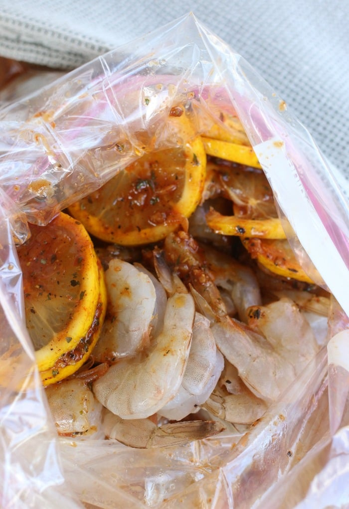 Shrimp and marinade in a bag.