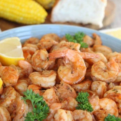 BBQ Shrimp New Orleans Style with a squeeze of fresh lemon juice.