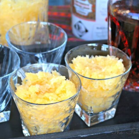 Bourbon Slush in clear glasses on a try ready to be enjoyed