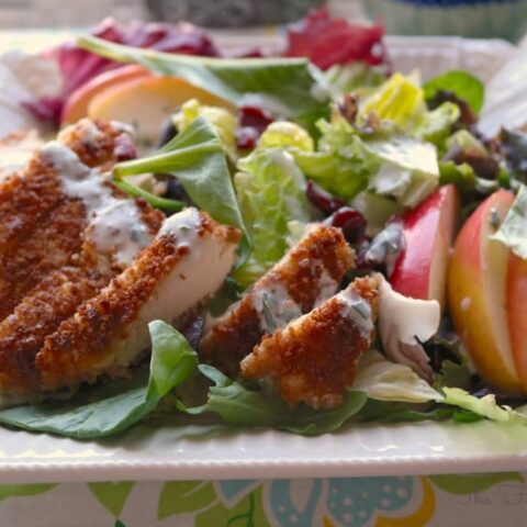 Garden Salad with Chicken on a white luncheon plate