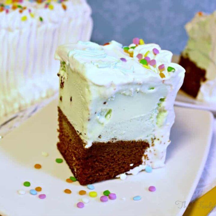 Homemade Ice Cream Cake for a birthday celebration