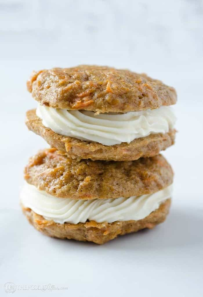stacked carrot cake cookies with coconut filling