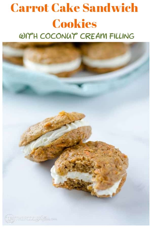 Carrot Cake Cookies filled with coconut cream! These delicious bite size cookie sandwiches taste just like cake! #carrotcake #cookie #bake | www.thefoodieaffair.com