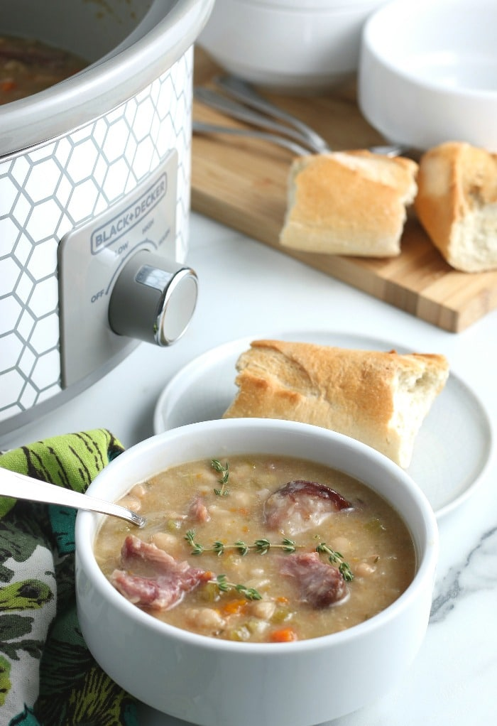 Serving this dish of the slow cooker ham and beans recipe with bread is a must!