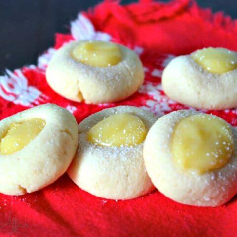 Lemon Thumbprint Cookies on a red napkin