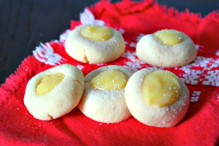 Lemon Thumbprint Cookies on a red napkin
