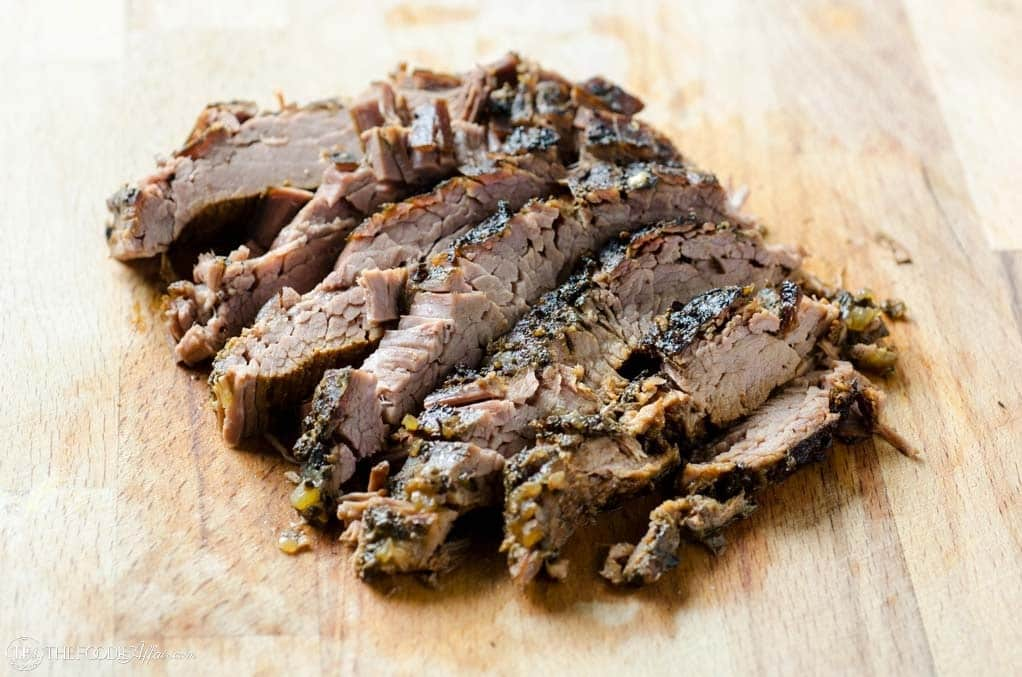 Sliced flank steak slow cooker meal