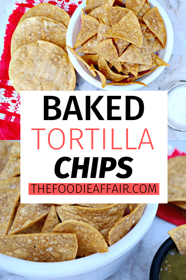 Homemade Baked Tortilla Chips are easy to make and a healthier alternative to fried chips. Use this baked tortilla chip technique for making tostada shells. #baked #healthy #appetizer #tortilla #chips #homemade #mexican #snackidea