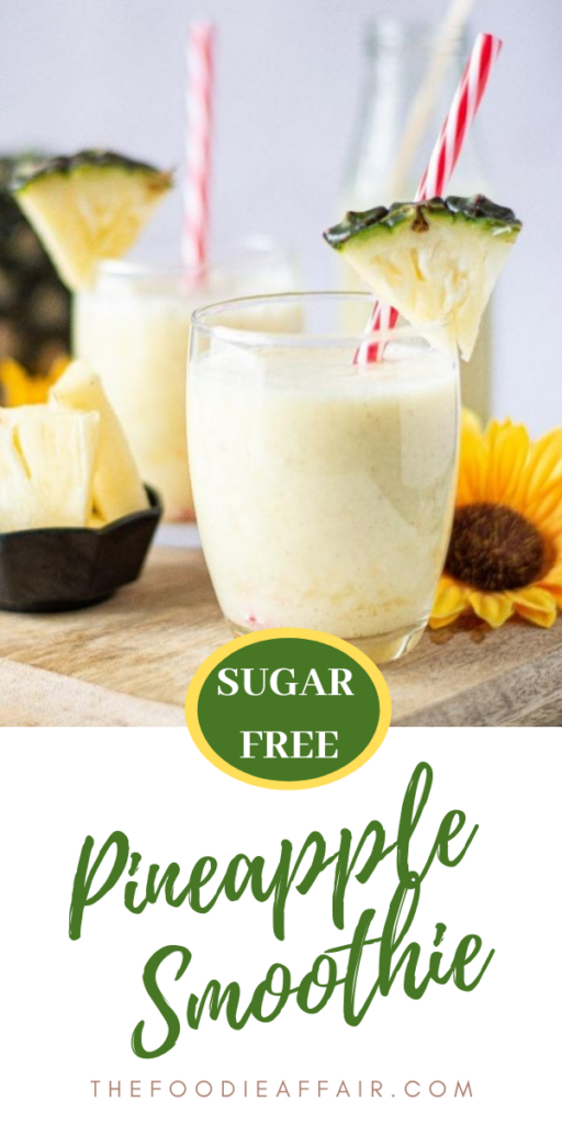 Creamy pineapple smoothie with sugar free protein powder. Tasty way to start the day! #smoothie #tropical