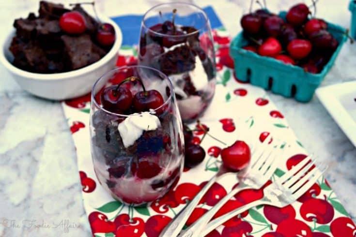 Individual Brownie Cherry Trifle