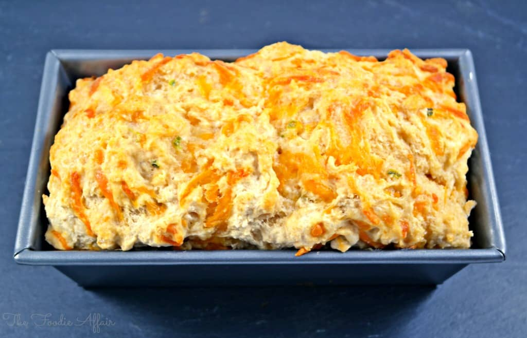 Cheddar Jalapeño Beer Bread doesn't require any yeast, kneading or time to rise. Mix and bake!