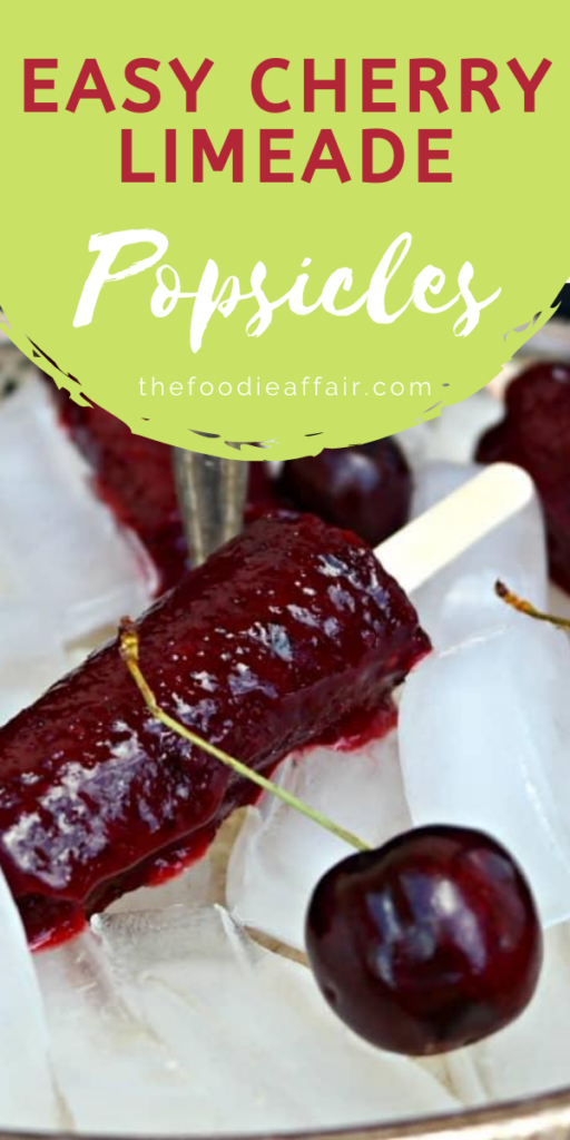 Homemade fresh cherry popsicles with lime. Refreshing and delicious. Serve in sparkling wine for an extra special treat.