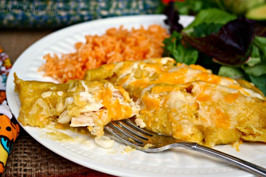 Green Chile Chicken Enchiladas - The Foodie Affair
