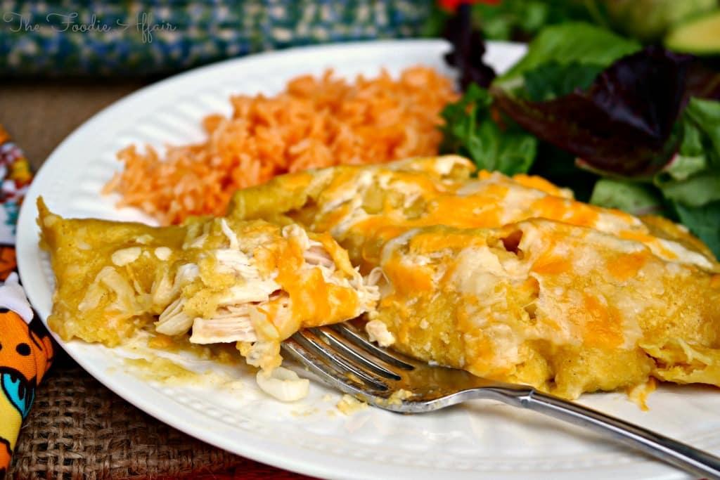 Green Chile Chicken Enchiladas - The Foodie Affair