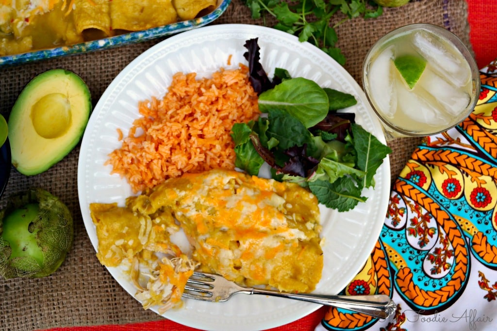 Green Chili Chicken Enchiladas - The Foodie Affair