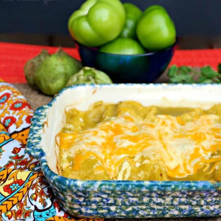 Green Chile Chicken Enchiladas in a casserole dish