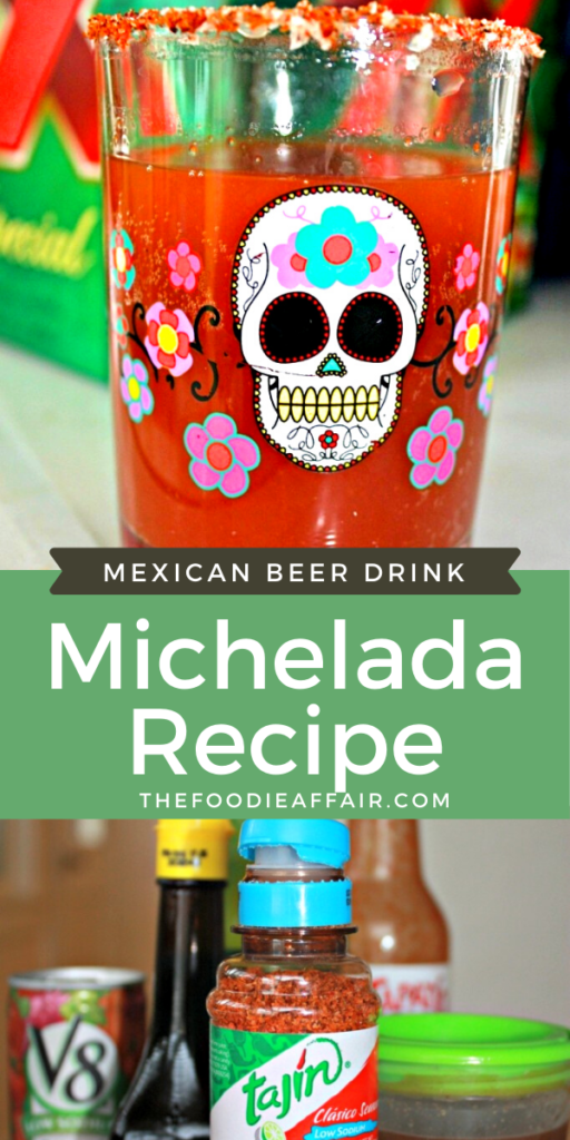 Homemade michelada Mexican beer drink is similar to a Bloody Mary, but with Mexican cervesa. #happyhour #Mexican #cocktail