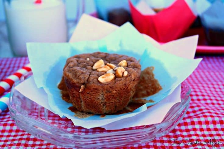 Peanut Butter Banana Muffins on a clear plate