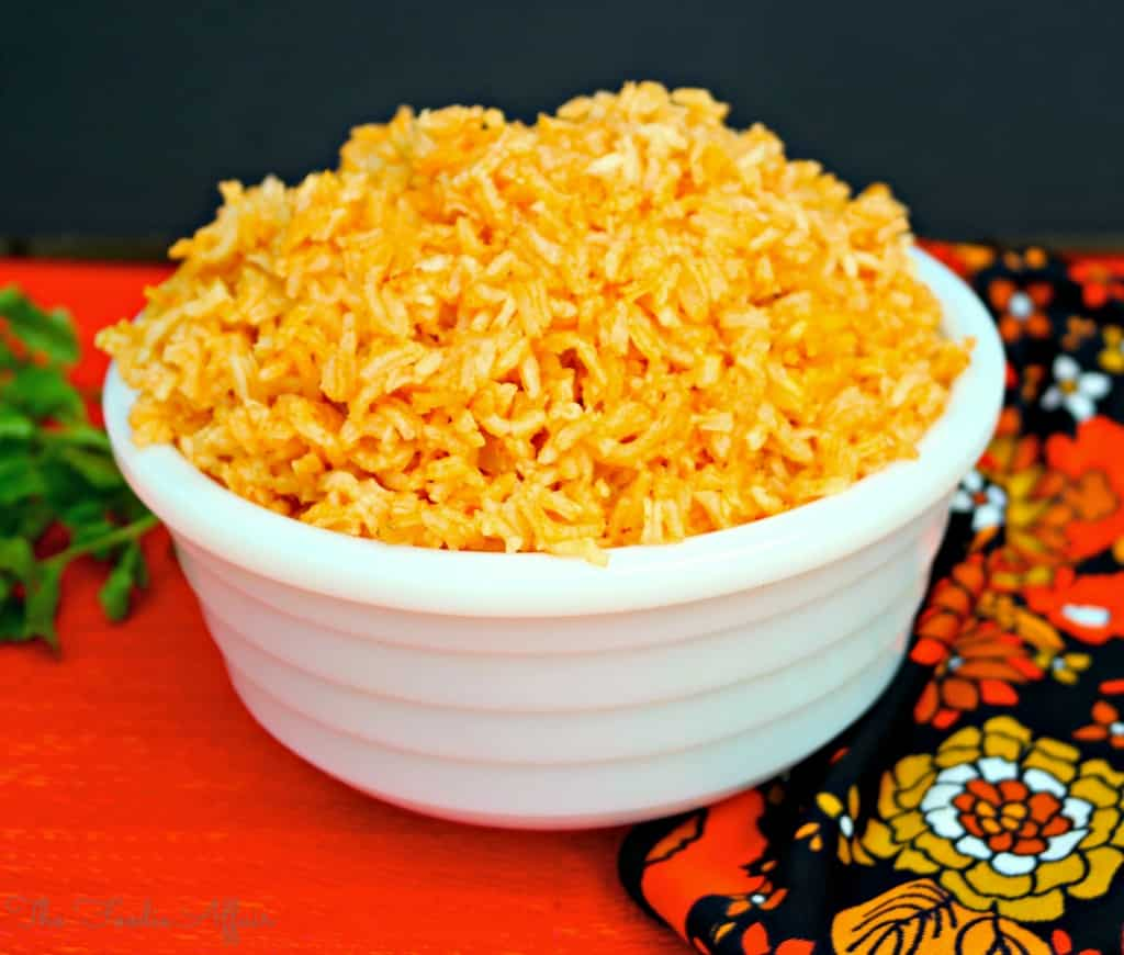 Spanish Rice in a white bowl