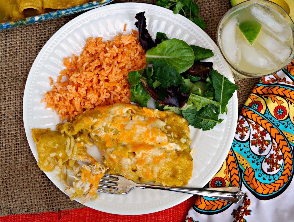 Spanish rice with salad and enchiladas