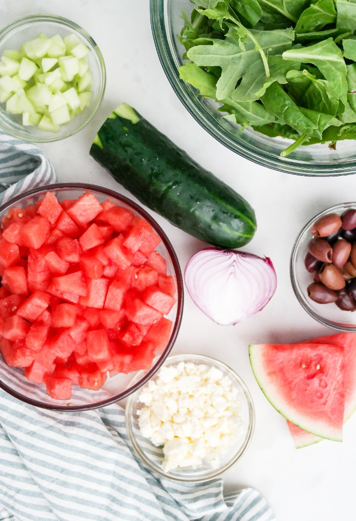 Ingredients for a watermelon salad with feta.