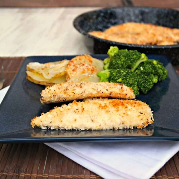Baked Chicken Tenders on a black serving plate