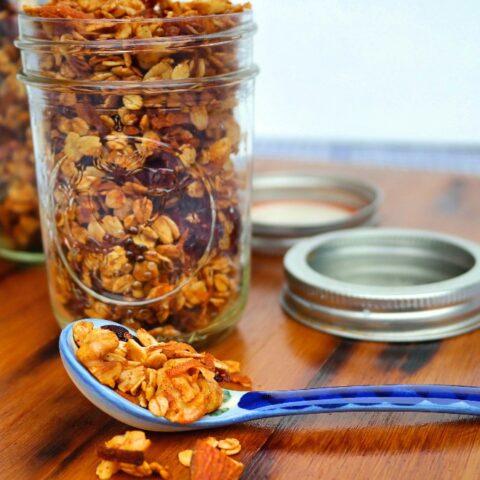 Homemade granola recipe in a mason jar