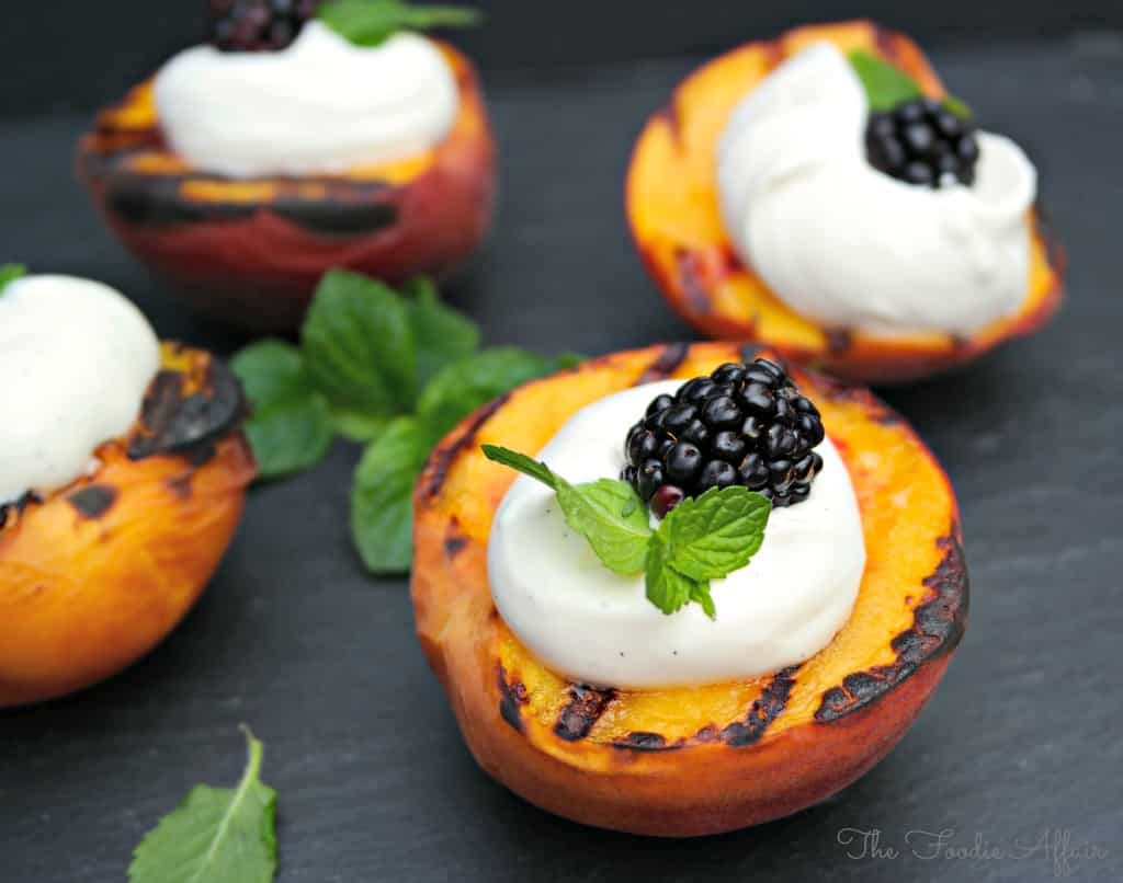 Sweet and juicy Grilled Peaches and Yogurt Cream with specks of ...