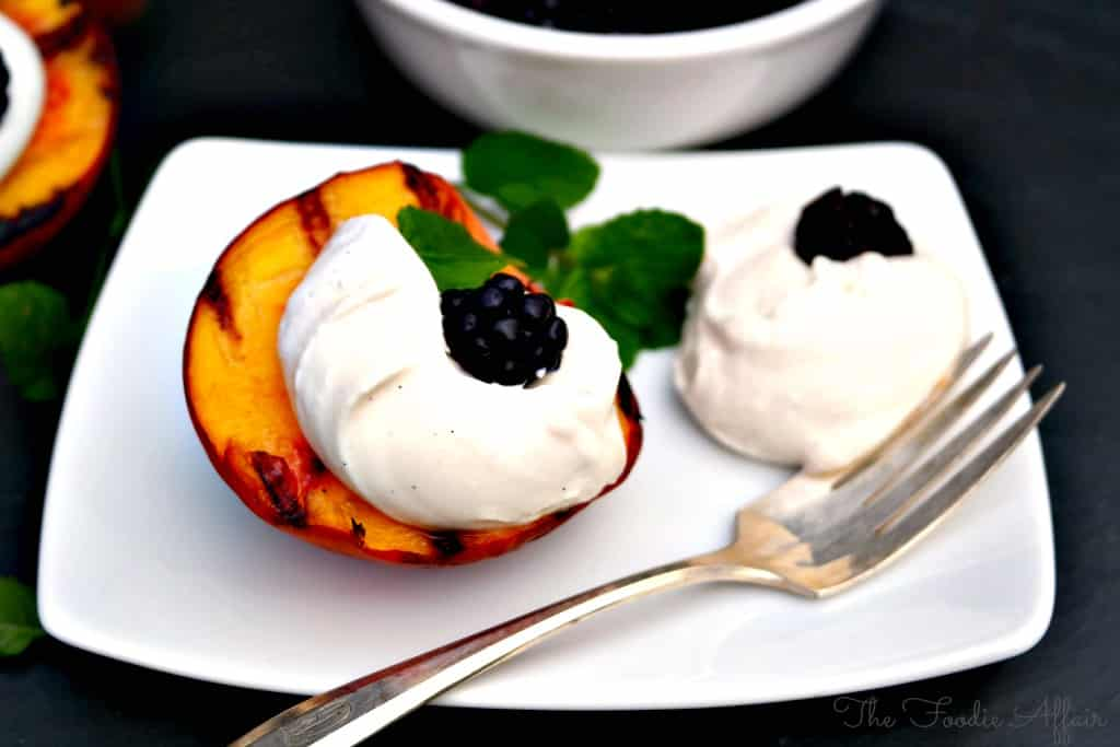 Grilled Peaches and Yogurt Cream - The Foodie Affair