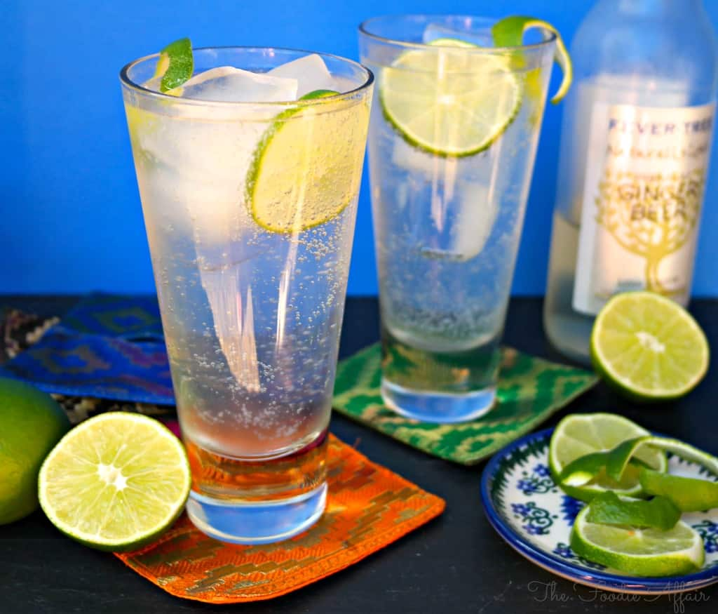 Moscow Mule Cocktail with tall clear glass with lime