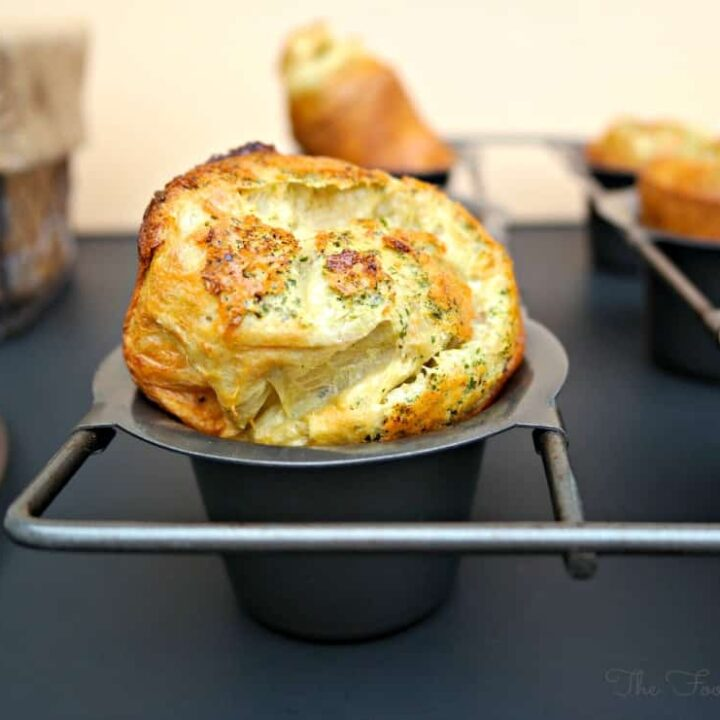 Parmesan Popovers in a muffin pan right out of the oven